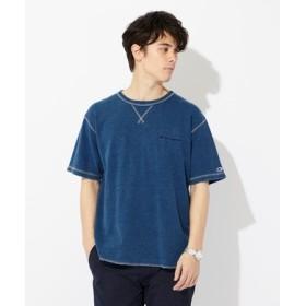 Champion インディゴワッフルTシャツ メンズ 中濃色