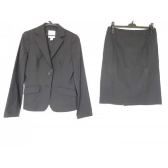 【中古】 クミキョク 組曲 KUMIKYOKU スカートスーツ サイズ3 L レディース 黒 肩パッド/ストライプ
