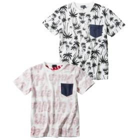 総柄プリントポケット付半袖Tシャツ2枚組(男の子 子供服。ジュニア服) Tシャツ・カットソー