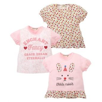 綿100%パフスリーブTシャツ3枚組(女の子 子供服) Tシャツ・カットソー