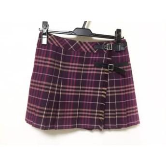 【中古】 バーバリーブルーレーベル 巻きスカート サイズ36 S レディース ボルドー ピンク マルチ