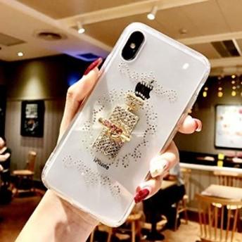 iPhone Xr カバー 携帯の殻 ケース,Apple 対応, DiMaos 女性用 金属指輪 ダイヤモンド 薄い 透明 柔らかい殻, iPhone