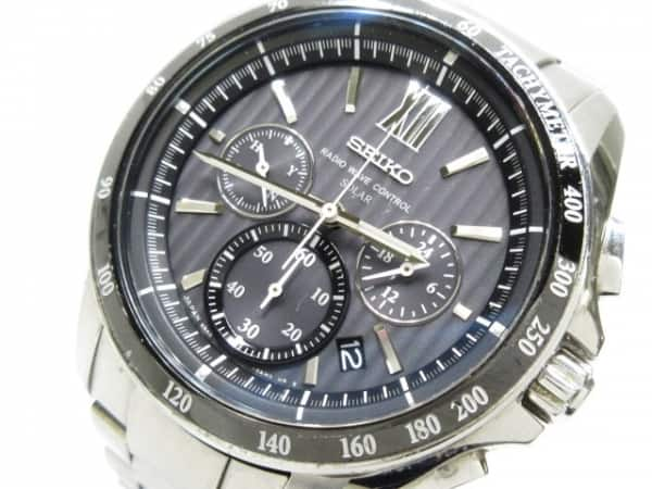 1a863ec955 【中古】 ネイビー SEIKO ブライツ メンズ (セイコー) 腕時計 クロノグラフ 8B82-0AL0
