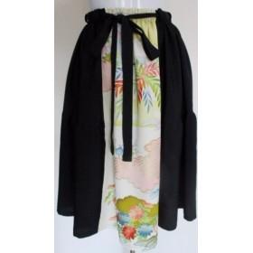 送料無料 花柄と黒の羽織で作った膝丈スカート 4210