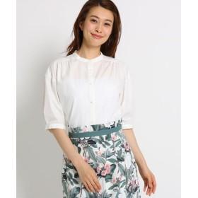 SunaUna(スーナウーナ) 【洗える】スヴィン綿バンドカラー五分袖シャツ