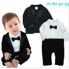 二点送料無料 キッズ 男の子 スーツ 2点セットアップ コート+オールインワン ベビー服 70-95cm フォーマルスーツ ボーイズ セット 赤ちゃ
