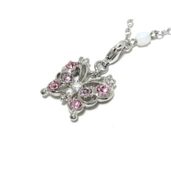 【中古】 アナスイ ネックレス 金属素材 プラスチック ラインストーン シルバー 白 ピンク 蝶