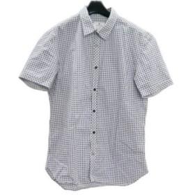 【中古】 ランバンオンブルー LANVIN en Bleu 半袖シャツ サイズ48 XL メンズ 白 ブルー ライトグリーン