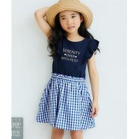 フリル袖ドッキングワンピース(女の子 子供服)ポケット付 ワンピース