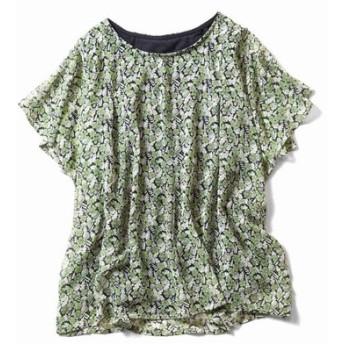 Tシャツ感覚で着られる ひらり花柄シフォントップス〈グリーン×ネイビー〉 リブ イン コンフォート フェリシモ FELISSIMO【送料:450円+税】