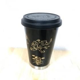 thermo mug×越前漆器『うるしモバイルタンブラー 鳥獣戯画』黒色