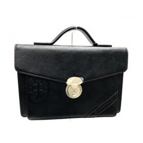 【中古】 カステルバジャック Castelbajac ハンドバッグ 美品 黒 型押し加工 レザー ナイロン
