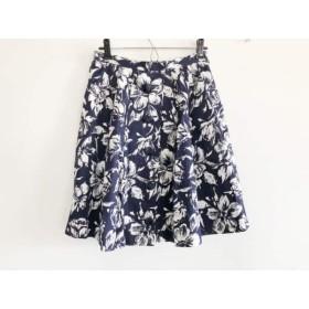 【中古】 レリアン Leilian ミニスカート サイズ11 M レディース ネイビー 白 花柄