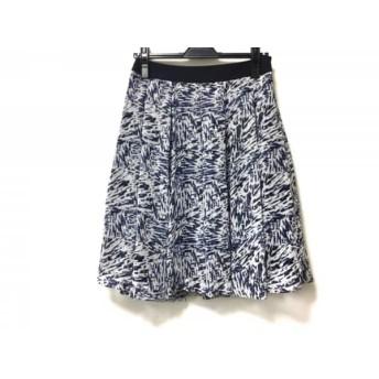 【中古】 ニジュウサンク 23区 スカート サイズ38 M レディース 白 ネイビー ダークネイビー