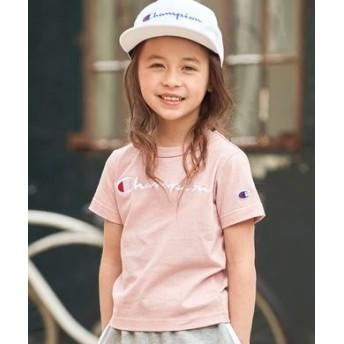 Champion スクリプトロゴTシャツ キッズ ライトピンク