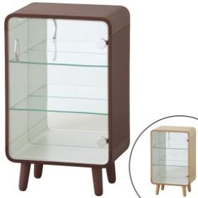 コレクションケース 3段 ガラス扉 背面ミラー 脚付 曲げ木風 幅36cm ( コレクション棚 鏡付 )