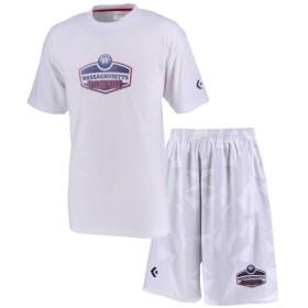 コンバース バスケットボール プラクティスウェア 上下セット プリントTシャツ&プラクティスパンツ上下セット ホワイト CB291306-1100-CB291806-1100