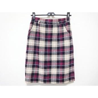 【中古】 アプワイザーリッシェ スカート サイズ2 M レディース ベージュ ボルドー マルチ チェック柄