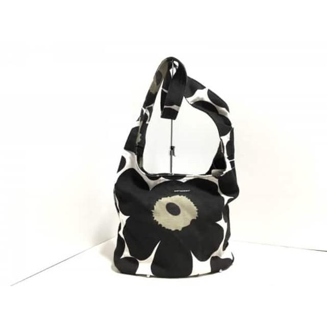 【中古】 マリメッコ marimekko ショルダーバッグ 白 黒 ダークグリーン 花柄 キャンバス