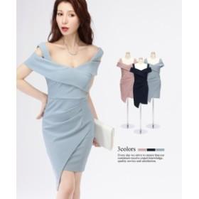 【S~2XL】【5サイズ】アシンメトリー タイトスカート オフショルダー ワンピース ドレス [ キャバ 大きいサイズ ]