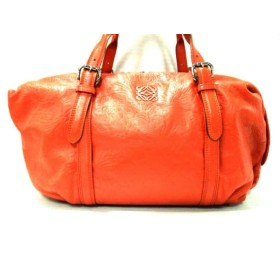 【中古】 ロエベ LOEWE ハンドバッグ カネラ 314.16.H57 オレンジ 型押し加工/花柄 レザー