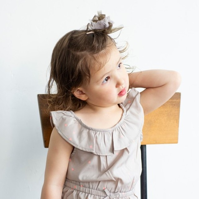 【for Kids】咲き編みパッチン|スクール(ブラウン)
