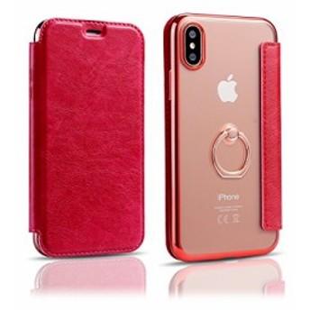 iPhoneX ケース アイフォン iPhoneX 用 ケース 手帳型 レザー 多機能 エラー防止シート付 ネイビー アイフォン用財布 (レッド ip
