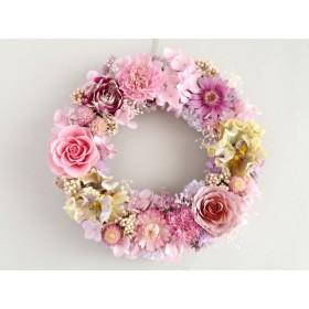 ピンクローズとパンジーのリース:ドライフラワー・プリザーブドフラワー・リース・紫陽花・ドライフラワー
