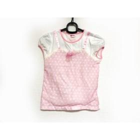 【中古】 メゾピアノ 半袖カットソー サイズ140 レディース アイボリー ピンク 子供服/ドット柄/リボン