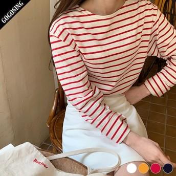【GOGOSING】カラーゼリーボーダーTシャツ★レディーストップス レディースTシャツ ラウンドネック ルーズフィット ボーダー柄 長袖 新作 韓国 ファッション p000cxux