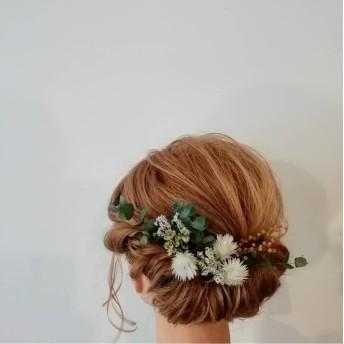 結婚式 ホワイト×グリーン : ヘッドパーツ(髪飾り)10本セット