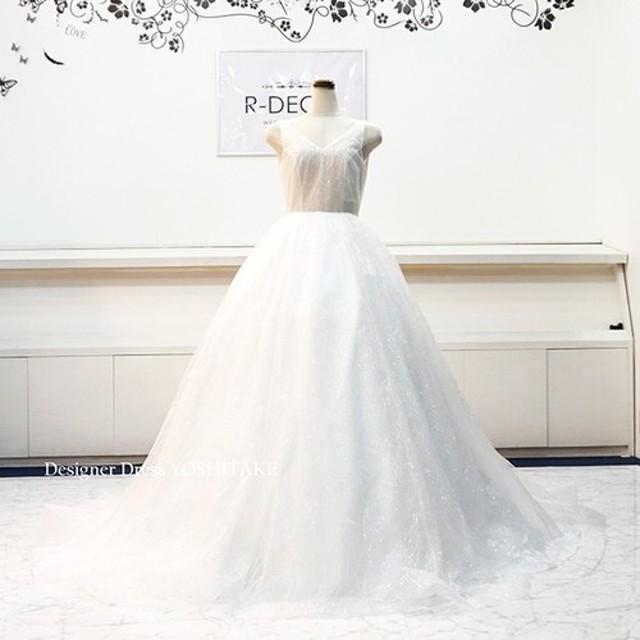 eda7d89201e59 ウエディングドレス(パニエ無料) キラキラチュールドレス(ヌーブラ着用) ブライダル挙式