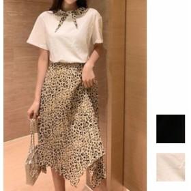 韓国 ファッション レディース セットアップ 夏 春 カジュアル naloE550 豹柄 スカーフカラー プリーツスカート イレヘム ワイルド キャ