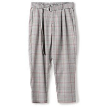 【メンズビギ:スーツ・ネクタイ】グレンチェックベルト付きワイドパンツ