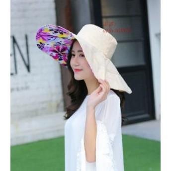 帽子 レディース サーフハット 折りたたみ UVカット 飛ばない 旅行 小顔効果 つば広 女優帽 日焼け防止 ハット ビーチ リボン ビーチハッ