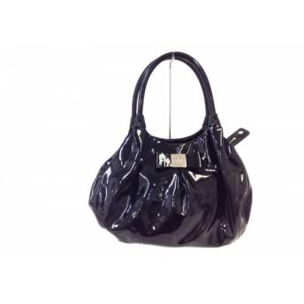 【中古】 ケイトスペード Kate spade ハンドバッグ PXRU5045 黒 リボン エナメル(レザー)