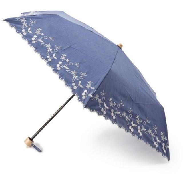 HusHusH(Ladies)(ハッシュアッシュ(レディース)) 【晴雨兼用】チェリー刺しゅう折りたたみ傘(because)