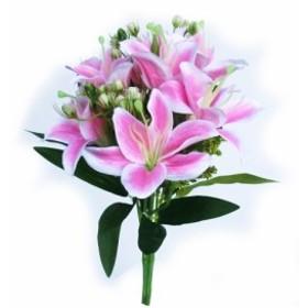 ゆり ユリ 百合 造花 1株(8~9輪) ピンク 002-035 花束 1輪の大きさ:直径8cm 全体の大きさ約18x20x40cm