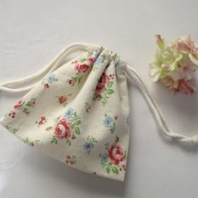 綿麻バラ柄の巾着ポーチ