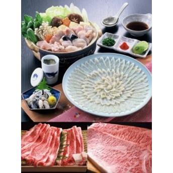とらふぐ刺身(3~4人前)&阿知須牛サーロインステーキ・肩ロースすき焼き用セット