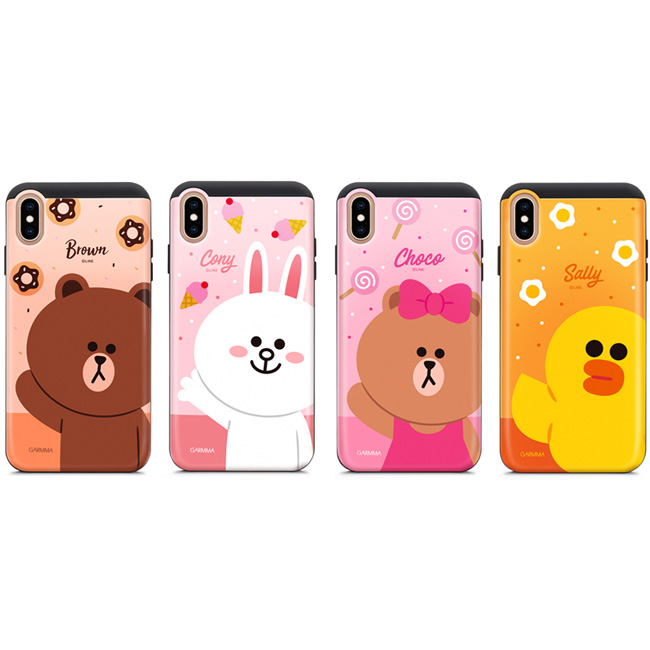 GARMMA LINE FRIENDS IPhone Xs Max X/XS 5.8 6.5 插卡式滑蓋防摔殼