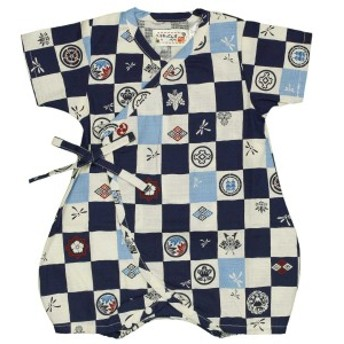 男の子 ベビー甚平 ロンパース甚平 和柄 紋 格子柄(日本製生地 ホック使用)綿100% 新生児 ネイビー 50-60cm/60-70cm