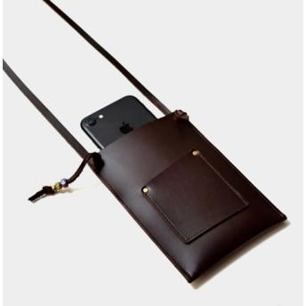 [阿里山の電話ボックス]革携帯電話バッグ首掛けIPHONE6、6s、7PLUSレジャーカード、証明書(チョコレートレザー)を入れ