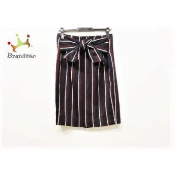 ミラオーウェン 巻きスカート サイズo レディース 美品 ダークネイビー×ダークブラウン×白 スペシャル特価 20190803