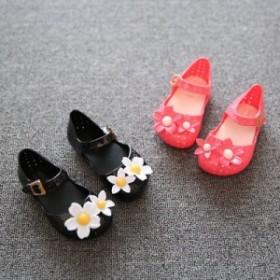 cd338f6337a64 サンダル ベビー キッズ 女の子 ベルトストラップ ラバーサンダル 花 穴あき フラット 靴 シューズ かわいい