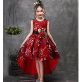 袖なし フォーマル 不規則裾 チュール 女の子ドレス キッズドレス お嬢さん パーティドレス ジュニア 女児 100~170 演奏会 ピアノ