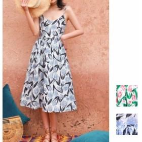 韓国 ファッション レディース ワンピース 夏 春 カジュアル naloE515 マキシワンピース リゾートワンピース ハワイ チューリップ 花柄 A