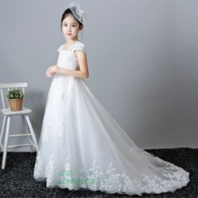 b32322b91e645 サイズ有り100 110 120 フラワーガール パーティードレス 女の子 女の子ドレス トレーンドレス 子供 ホワイト