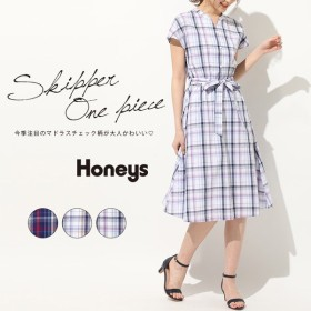 Honeys ハニーズ スキッパーワンピース ひざ丈 半袖 マドラスチェック柄 レディース
