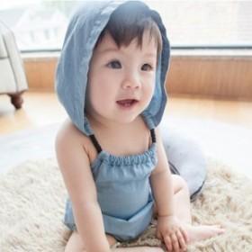 ロンパース ボディスーツ カバーオール フード フード付き デニム 肩ひも 肩紐 夏 赤ちゃん ベビー キッズ お出かけ 肌着